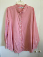 Signature Collection Women's 2X Blouse Lg Slve Top New Coral White Gingham Check