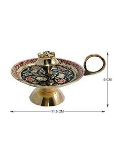Brass Green Incense Stick Holder Agarbatti Stand Pooja Worship Prayer