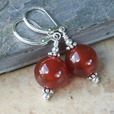 14mm Handmade Natural Red Agate Round Beads Sterling Silver Dangle Earrings