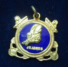 VINTAGE WWII US Navy SEABEES Sterling SILVER .925 Charm Pendant Gold-plated