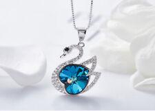Halskette Herz Schwan Anhänger mit Swarovski Kristall Collier 18K Weißvergoldet
