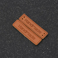 50x Rectangle Handmade PU Leather Garment Labels Tags Sewing Handcraft Supplies