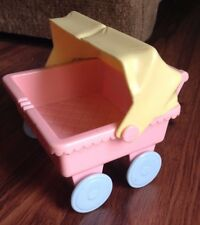 1991 Playskool Dollhouse Double Twin Stroller Coral Yellow Blue - Vintage RARE