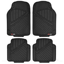 FlexTough Rugged Channel 4pc Rubber Car Floor Mat - Heavy Duty All Weather Black