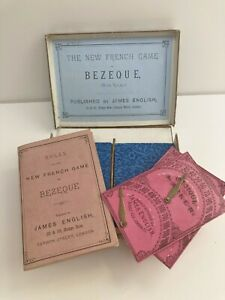 Antique James English Bezique Playing Cards - 32/32 - Instructions/Markers/Box