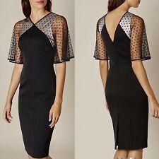 New Karen Millen Black Polka Dot Tulle Sleeves Wiggle Pencil Cocktail Dress 16