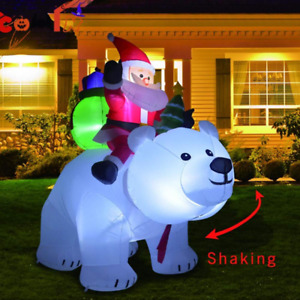 7×6ft Head Shaking Christmas Inflatable Santa Claus with Bear Garden Decorations