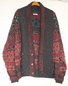 Vintage wool coogi style cardigan Savrano Australia size 14-16