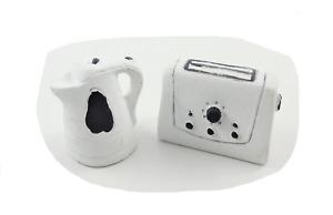 Dolls House Modern White Kettle & Toaster Miniature 1:12 Kitchen Accessory