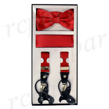 New in box Men's Convertible skinny Elastic Strap Suspender_Bowtie Hankie Red