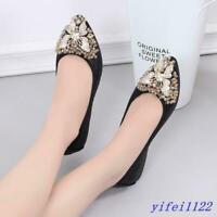 Chic Women's Rhinestones Bowknot Pointed Toe Flats Loafers Casual Oxfords Shoes