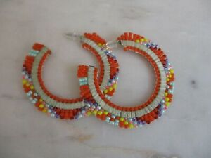 Native American handmade beaded Hoop earrings
