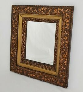 Antique Carved Wood Wall Mirror Deep Well Gilt Copper Flowers Leaves 15x17