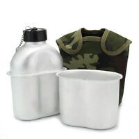 Military Army Canteen Water Stainless Steel Bottle + Cup Cover Hiking Outdoor AU