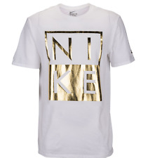 NIKE MODERN WHITE/GOLD GRAPHIC TEE T SHIRT MENS LARGE NWT