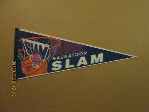 NBL Saskatoon Slam Vintage Defunct Circa 1993 Team Logo Basketball Pennant