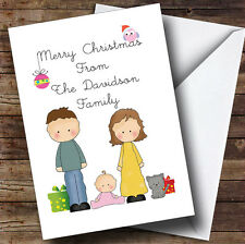 From Our Family Girl Baby Cat Personalised Christmas Card