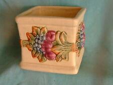 """Vtg Antique 1920'S Stamped Weller Ware Square 4"""" Raised Fruit Vase"""