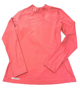 Under Armour Cold Gear Fitted Mock Neck Size XL Long Sleeve Top Salmon Pink EUC
