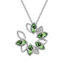 18K GOLD GP Made With SWAROVSKI CRYSTAL Circle Flower Pendant Necklace Green
