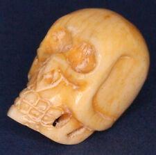 Vintage Bone carving Chinese? Skull charm pendant 20mm *[16390]