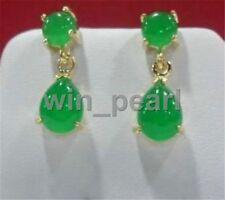 New natural Charming green jade drop earring 18kgp