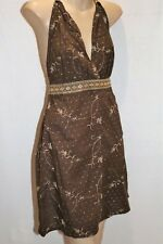 PURE HYPE Brand Brown Cotton Embroidered Halter Dress Size S BNWT #TS37