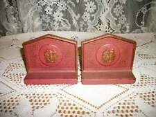 RARE ART DECO CHIC IRON 3 GRACES BOOKENDS PINK GOLD SHABBY COTTAGE COLLECTIBLE