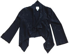 ST. JOHN COUTURE Sequined Drape Knit Cardigan Black Sz M  NWOT