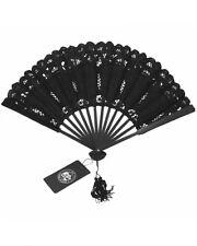 Dark In Love Womens Gothic Folding Fan Black Lace Hand Held VTG Lolita Steampunk