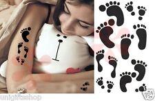 Temporary Tattoos Art Sticker - Footprints Lower Back Temporary Tattoo