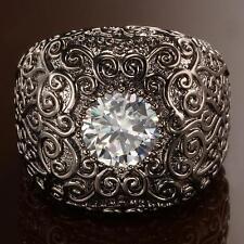 New Les Bijoux Dark Carved Filigree Ring - Size 7