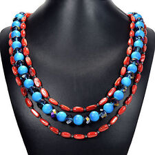 Blue Mystic Fire Crystal & Red Freshwater Shell Necklace Tantric Tokyo Jewellery