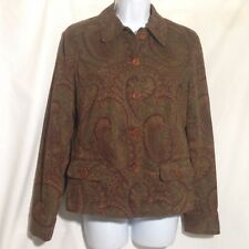 Jones New York Women's Button-down Shirt Size Small Brown Paisley Long Sleeves