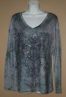 Womens Size Medium Long Sleeve Fall Fashion Paisley Studded Blouse Top Shirt