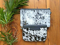 Genuine Cow Hide Brown White & Grey Hairon Leather Clutch Small Purse Pair Set