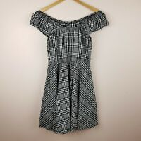 Revival Dress Size 12 Black White Check Off the Shoulder Dangerfield
