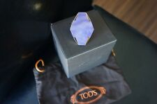 $1025+ NEW Tod's Two-finger Ring in gold-plated brass with purple stone Sz 7/8