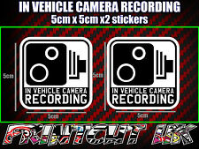 IN VEHICLE CAMERA RECORDING STICKERS X2 decal dash dvr car van bike truck bus BW