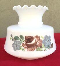Vintage White Glass Hurricane Oil Lamp Shade Flowers Ruffled 11x9.5 / 6.5 Fitter