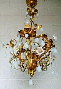 """Vintage French Opaline Chandelier Milk Glass Drops Helix Beaded Shape Flower 30"""""""