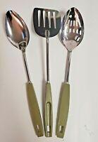 EKCO Chromium Plated Spatula Green Plastic Handle USA Slotted Spoon Serving Pcs