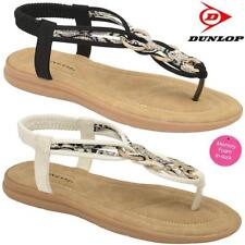 Ladies Memory Foam Low Wedge Heel Walking Toe Post Summer Strappy Sandals Shoes