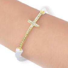 PD: 1 Wickelarmband Geflochten Unendlichkeit Armbänder Kreuz Weiß 21cm