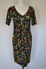 Black yellow stretchy summer evening party holiday dress size 8 M&S