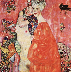 gustav klimt girlfriends  art painting print canvas 50cm x 50cm vintage