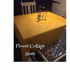 Vintage 70s Mustard Yellow Cotton Towelling Fringed Tablecloth Throw Campervan