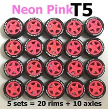 1/64 tires T5 Neon Pink fit Hot Wheels Mazda diecast model cars - 5 sets
