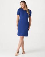 Denim & Co. Regular French Terry Short-Sleeve Dress - Bright Navy - XLarge
