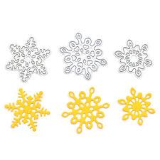 3 Pcs Snowflake Cutting Dies Metal Set  DIY Scrapbooking Christmas Cards Decor